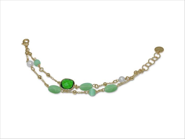 Bracciale in bronzo con cristallo verde