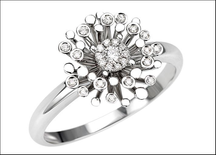 Desiderio, anello in oro 18 carati con diamanti. Prezzo: 790 euro