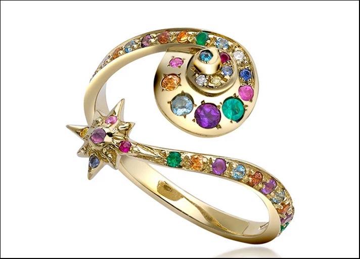 Anello Moonshell Star, in oro giallo 18 carati con diamanti, agata verde, ametiste, quarzi citrini, granati, smeraldi, topazi azzurri, zaffiri blu e zaffiri rosa