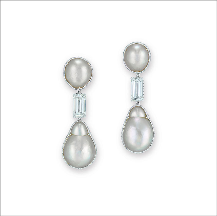 Orecchini con perle e diamanti