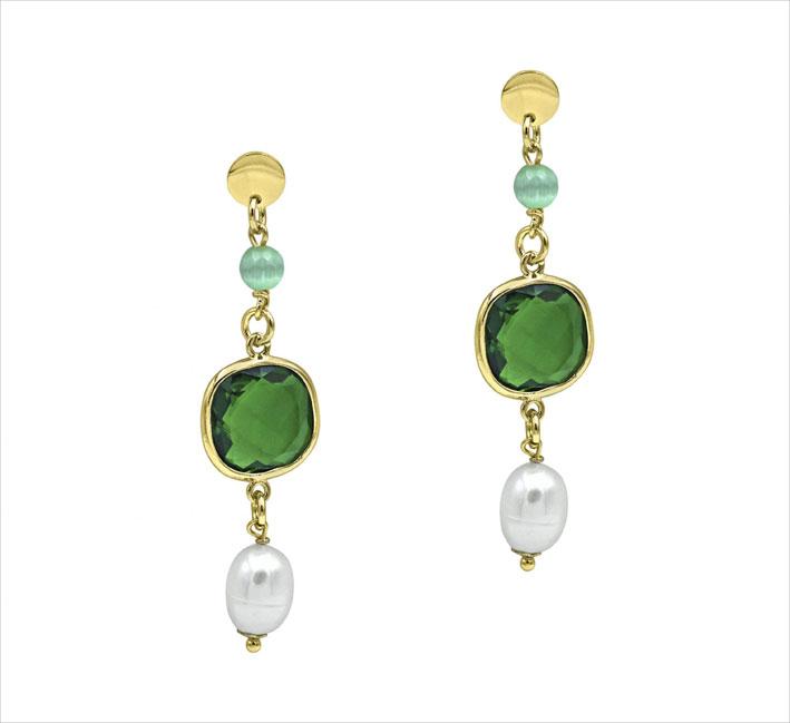 Orecchini in bronzo con cristallo verde