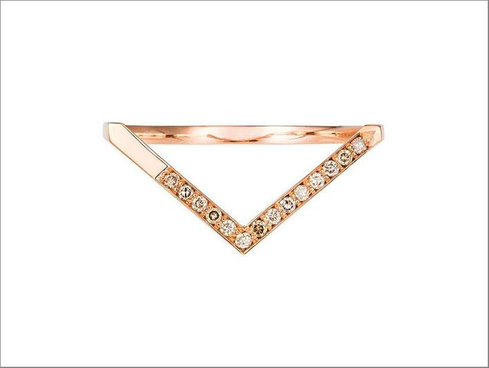 Anello Triangle in oro rosa e diamanti champagne