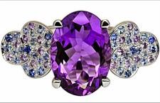 Isabelle Langlois, anello della collezione Tiple-Trêfle. Oro bianco 18 carati, diamanti, ametista, zaffiri