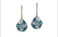 Collezione Confetti, orecchini con zaffiri, topazi blu, cordierite, diamanti