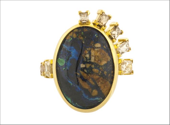 Anello con azurite malachite e diamanti