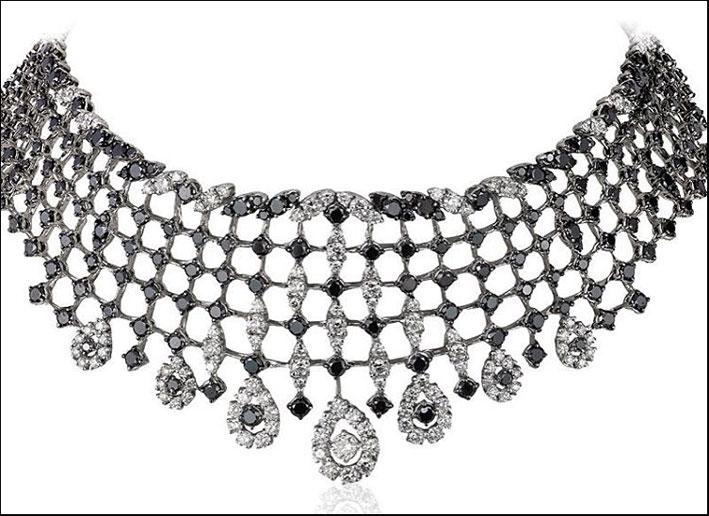 Andreoli, collier con diamanti bianchi e neri