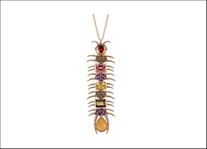 Collana Empress Centipede (millepiedi), oro giallo 18 carati, tsavorite e zaffiri arancio e gialli