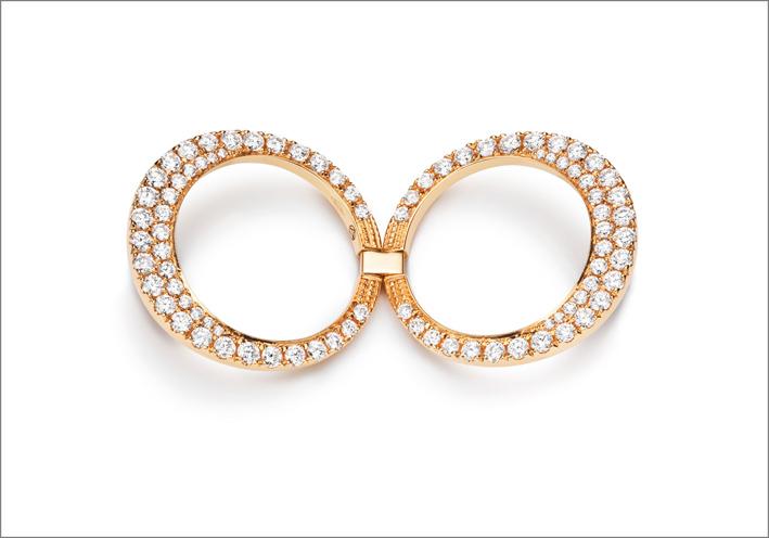 Anello revesibile Swing Swing in oro rosa e diamanti bianchi