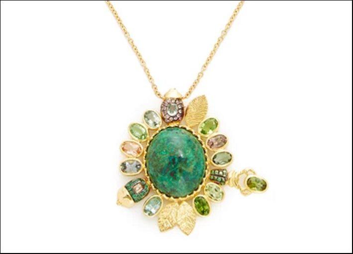 Collana Machu Picchu, oro giallo 18 carati chrysocholla, tormaline, tsavoriti, smeraldi, zaffiri verdi e marroni, diamanti champagne