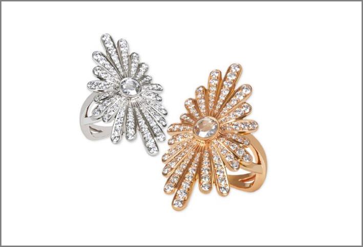 Anello dedicato a Yoko Ono, Oro rosa e bianco, un diamante con taglio a rosa e diamanti