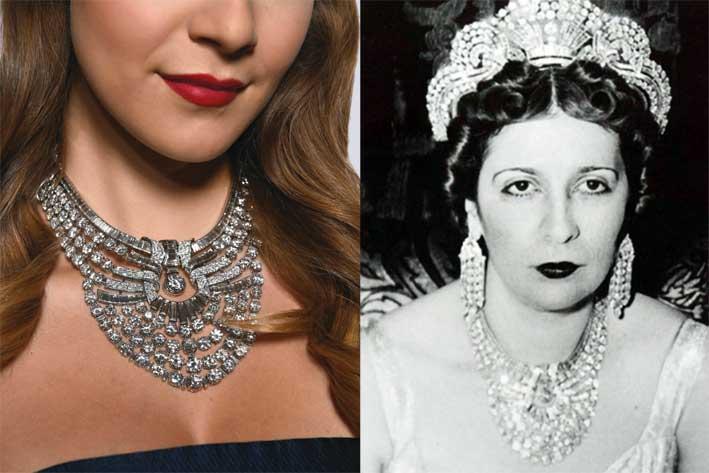 Collana di Van Cleef & Arpels al collo della regina d'Egitto Nazli (a sinstra)