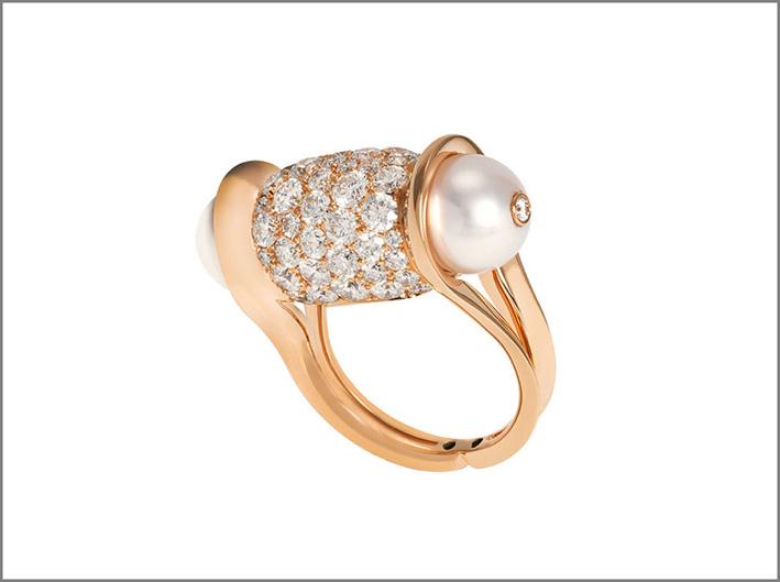 Anello Ginger in oro rosa, diamanti perle Akoya