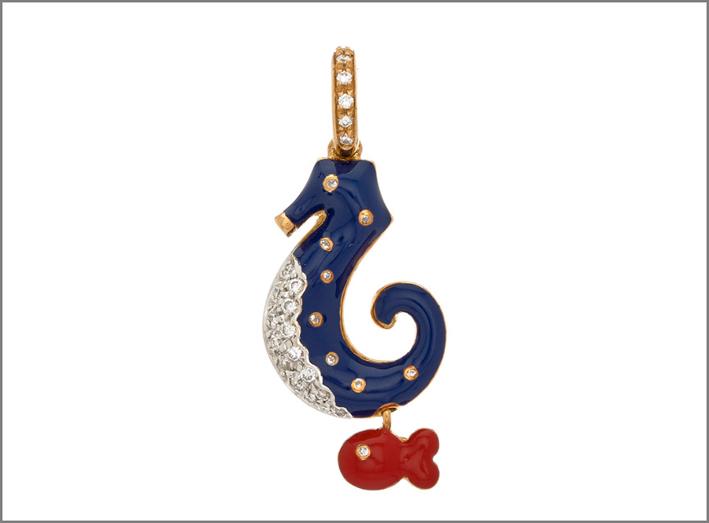 Aaron Basha, ciondolo cavalluccio marino, in oro, diamanti, smalto
