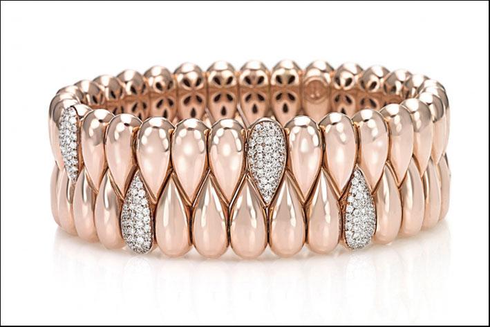Bracciale collezione Mosaico, oro rosa e diamanti
