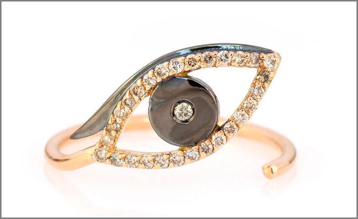 Evil Eye ring, in oro rosa rodiato, diamanti brown