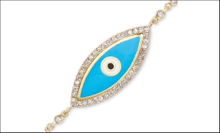 Occhio anti malocchio, con smalto e diamanti. Prezzo: 6800 dollari