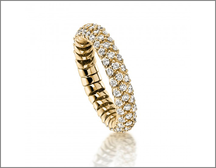 Anello flessibile in oro giallo e diamanti