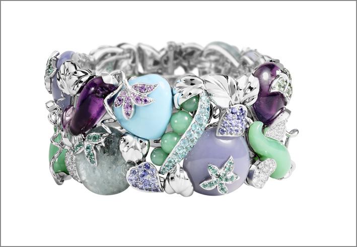 Bracciale Legume Aqua, con acquamarina, calcedonio, ametista, diamanti bianchi, smeraldi, zaffiri, tormalina paraiba, tsavorite, turchese