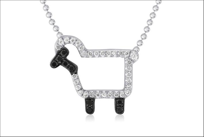Pendente Susie, in argento con diamanti neri. Prezzo: 450 dollari