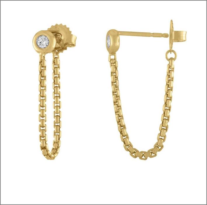 Crosstown Chain, orecchini in oro 18 carati