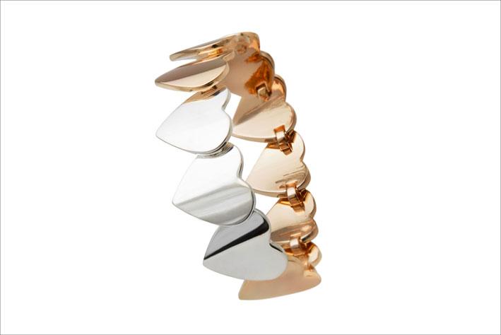 Bracciale semirigido in argento e ottone bronzato. Prezzo: 660 euro