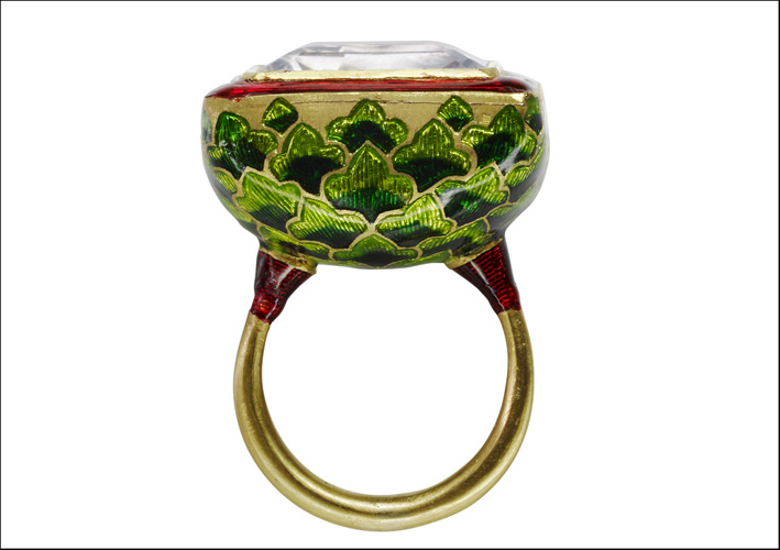 Jodhpur Miniature Leaf Ring. Oro 22ct, smalto vetroso, ametista rosa