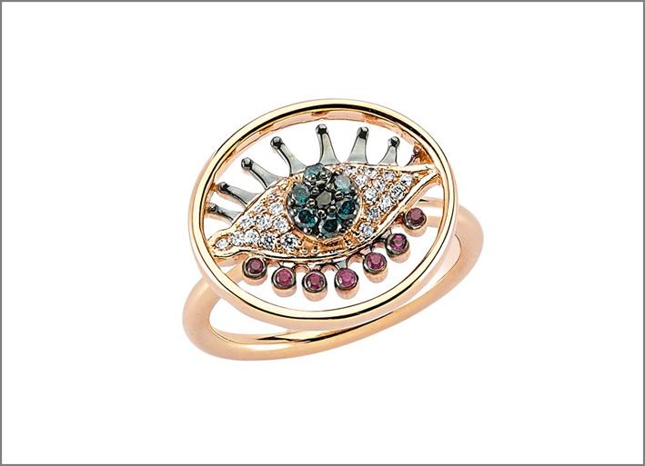 Collezione Eye Light, anello in oro rosa con diamanti bianchi, blu e neri