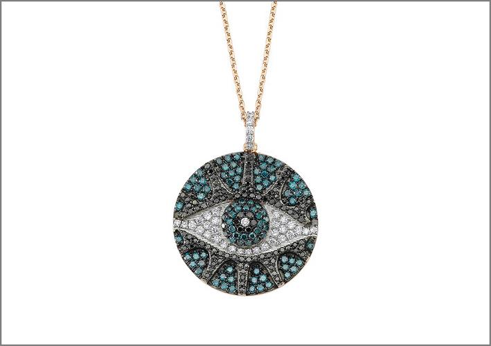 Collezione Eye Light, pendente in oro rosa con diamanti bianchi, blu e neri