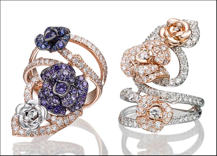Roseto, anelli in oro bianco e rosa 18 carati con diamanti e zaffiriblu