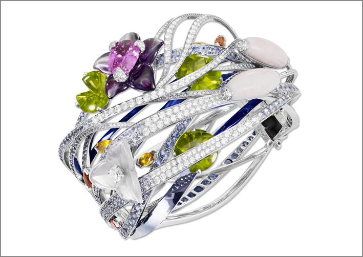 Bracciale Giardino Giapponese, con diamanti grigi, peridoti, quarzo rosa, zaffiri blu, gialli, orange, rosa