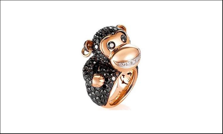 Anello in oro rosa e diamantineri di De Grisogono