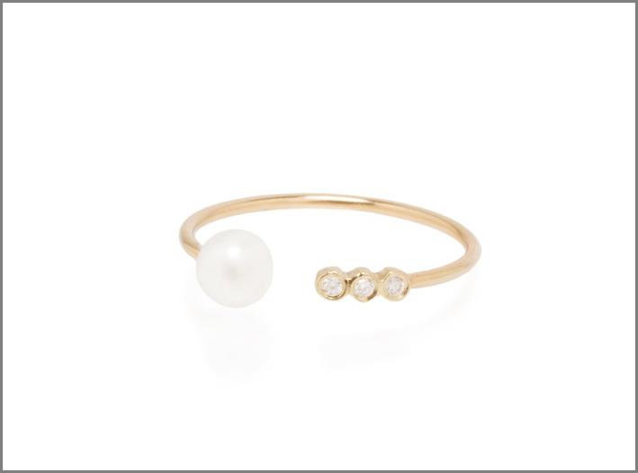 Anello aperto in oro 14 carati con perla e diamanti