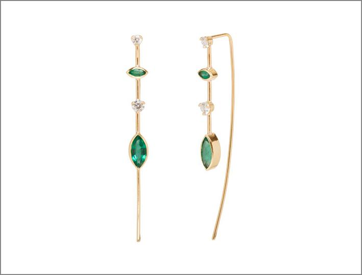 Zoë Chicco per Gemfields, orecchini in oro, smeraldi e diamanti