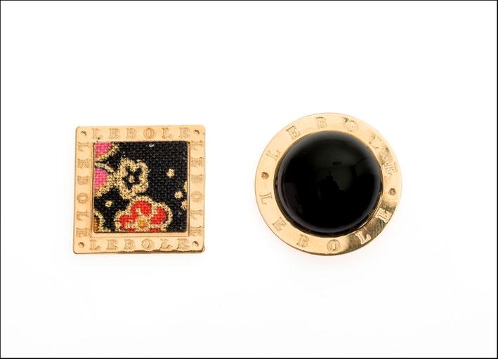 Orecchini con stoffa di kimonoe  pietra naturale. Prezzo: 110 euro