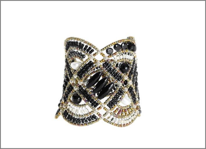 Bracciale fatto a mano con argento 925, perle di vetro di Murano e pietre semipreziose. Prezzo: 430 euro