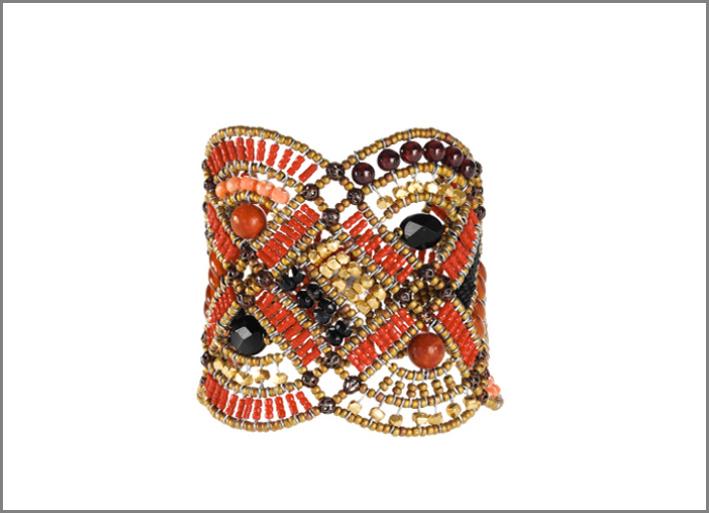 Ziio, bracciale con argento 925, perle di vetro di Murano e pietre semipreziose. Prezzo: 430 euro