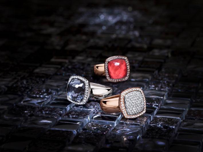 Collezione Milano Due, anelli con pietre colorate e diamanti