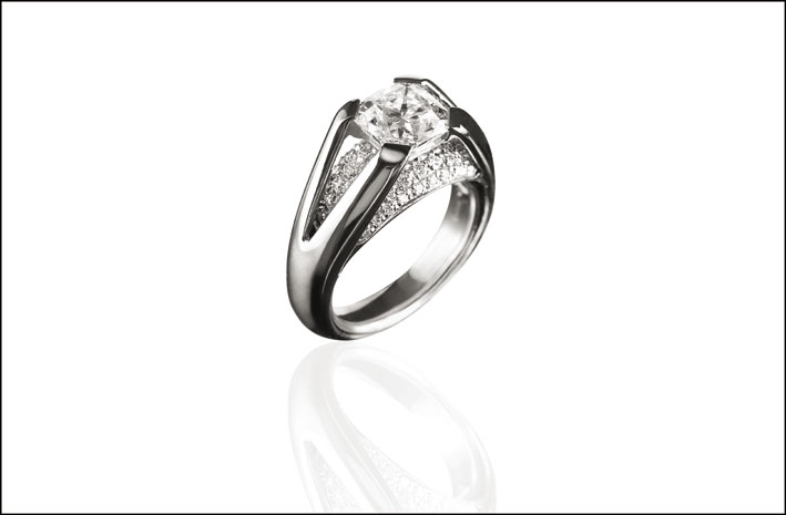 Osigem, anello Ballata, platino e diamanti