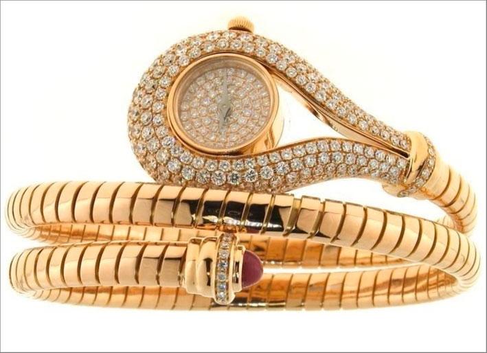 Bracciale tubogas con orologio, oro e diamanti