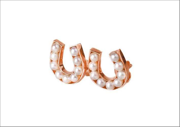Orecchini in oro rosa 9 carati con perle