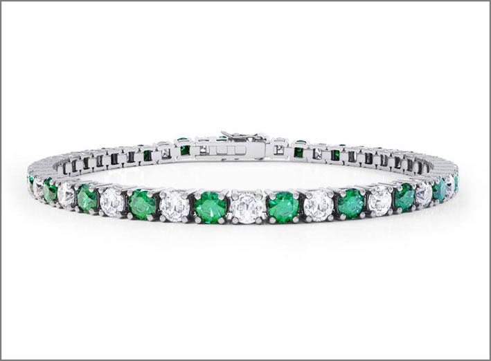 Falcinelli, bracciale tennis con diamanti e smeraldi
