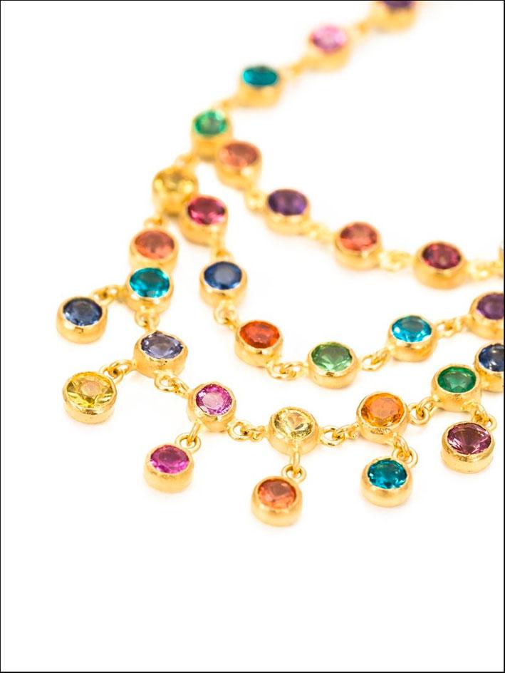 Collana Rainbow in oro e pietre
