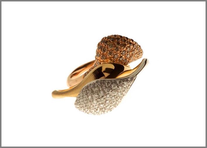 Fabrizio Riva, oro rosa 18 carati, con diamanti bianchi e brown