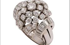Anello in platino con diamanti del 1950 circa