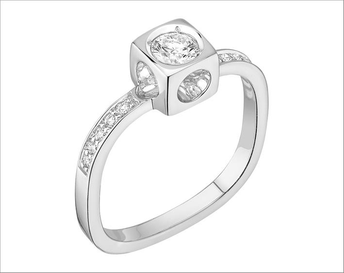 Anello Le Cube Diamant, oro bianco e diamanti
