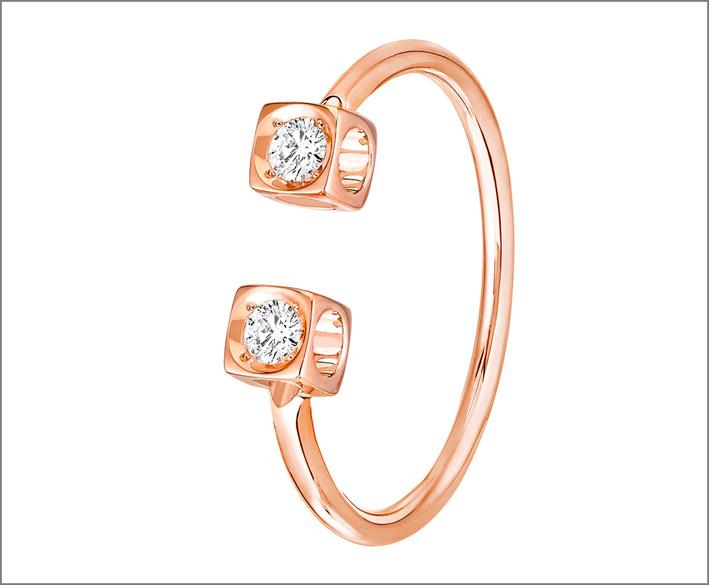 Anello Le Cube in oro rosa e diamanti