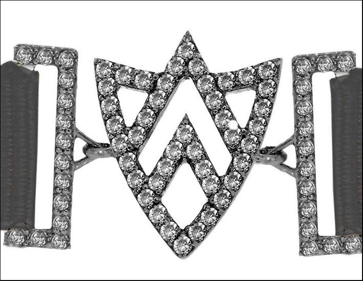 Bracciale Shevron Shield, con diamanti bianchi, rodio nero, argento
