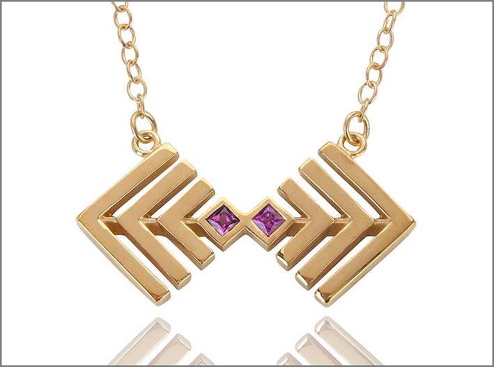 Collezione Baoli, collana con pendente in argento placcato oro