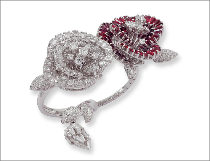 Couture Collection, Rose is a Rose ring. Anello con diamanti bianchi e rubini