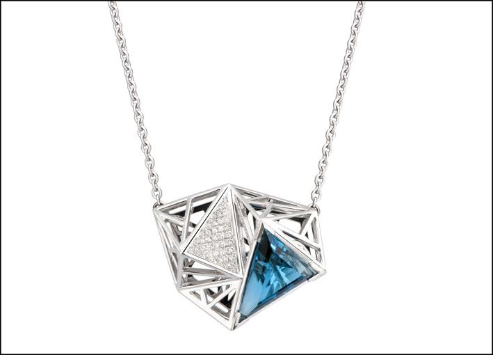 Collezione El Retiro, linea Inverno. pendente Iceberg in oro bianco, topazio blu e pavé di diamanti